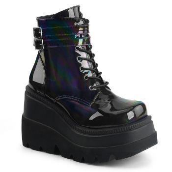 Platform Ankle Boots SHAKER-52 - Patent Black Holo