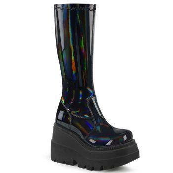 Gothic Platform Boots  SHAKER-65 - Patent Black Hologram*