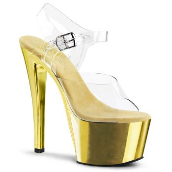 Platform High Heels SKY-308 - Gold Chrome