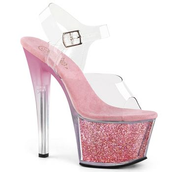 Platform High Heels SKY-308G-T - Clear/Pink