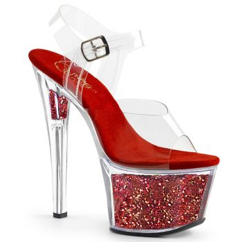 Platform High Heels SKY-308GF - Clear/Red