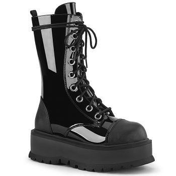 Gothic Platform Boots SLACKER-220-1 - Patent Black