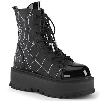 Gothic Platform Boots SLACKER-88 - Faux Leather Black