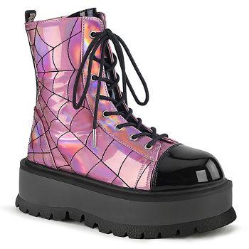Gothic Platform Boots SLACKER-88 - Pink Hologram