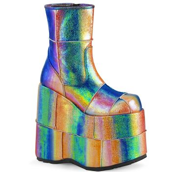 Platform Ankle Boots STACK-201 - Rainbow iridescent