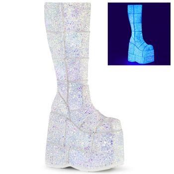 Platform Boots STACK-301G - White Multiglitter