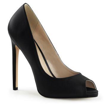 Stiletto Peep Toes SEXY-42 - Leather Black
