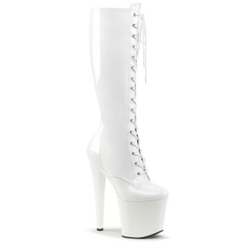 Platform Knee boots TABOO-2023 - White Patent