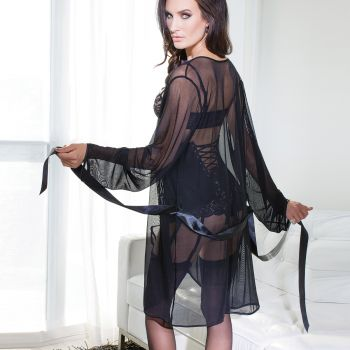 Transparent Mesh Kimono - Black