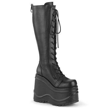Gothic Platform Boots (Vegan) WAVE-200 - Faux Leather Black