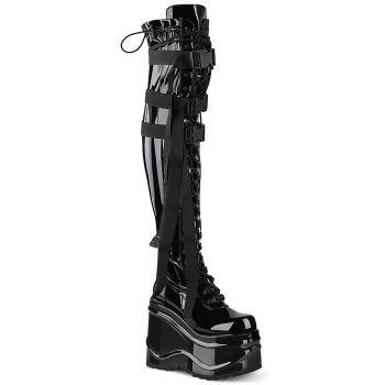 Overknee Platform Boots WAVE-315 - Patent Black