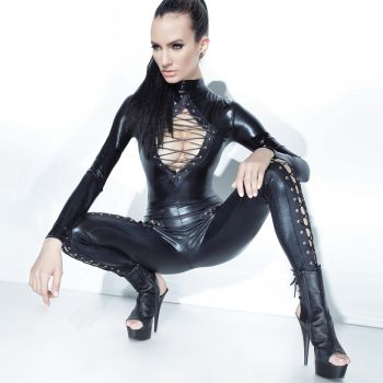 Wetlook Catsuit with Lace Up Details - Black