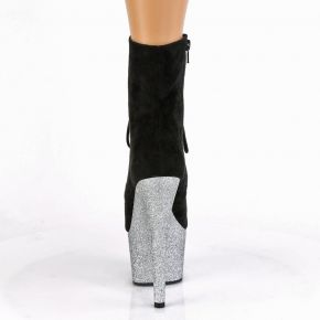 Lace Up Platform Ankle Boots ADORE-1020FSMG - Black/Silver