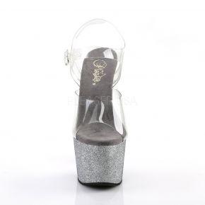 Platform High Heels ADORE-708LG - Silver/Black