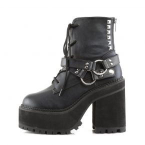 Gothic Ankle Boots ASSAULT-101 - Faux Leather Black