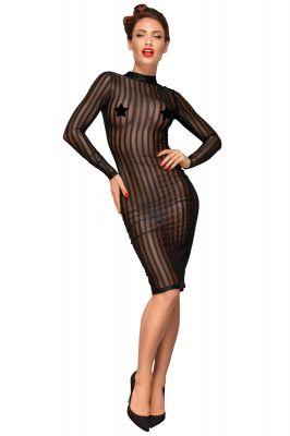 Transparent Striped Dress F182 - Black