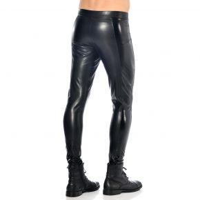 Slim Fit Faux Leather Pants - Black