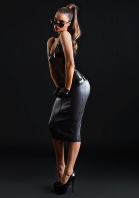 Knee-length Wet Look Skirt - Black