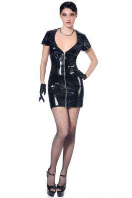 Shortsleeve Vinyl Dress NINON - Black