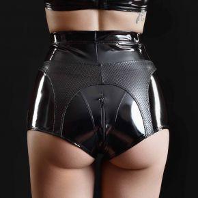 Hole Pattern Vinyl Shorts PATRICIA - Black