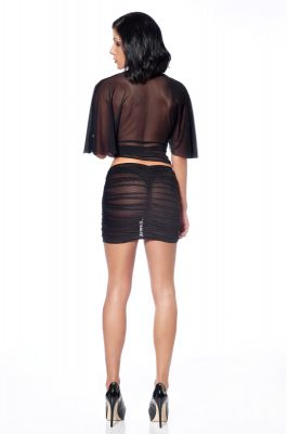 Transparent Mesh Skirt TURQUOISE - Black