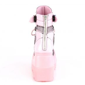 Gothic Ankle Boots  SHAKER-60 - Baby Pink Hologram