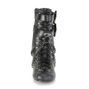 Gothic Ankle Boots VIVIKA-128 - Faux Leather Black