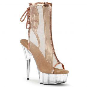 Platform Ankle Boots DELIGHT-1018MSH - Rose Golden Metallic