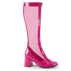Mesh Boots GOGO-307 - Patent Pink